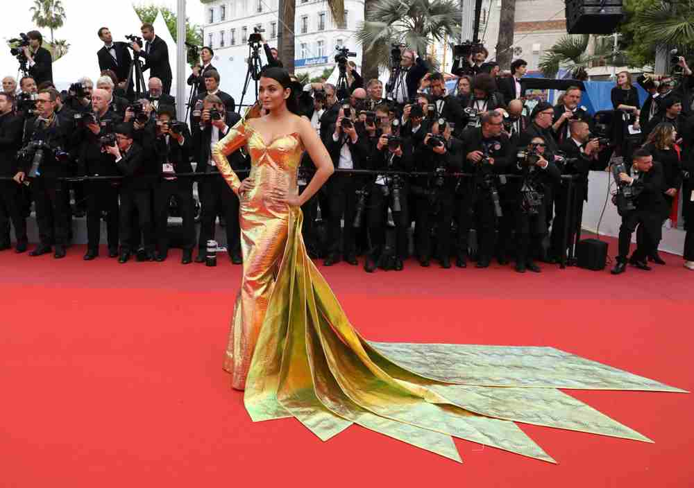 Aishwarya Rai Bachhan in a metallic golden at the Cannes Film Festival 2019