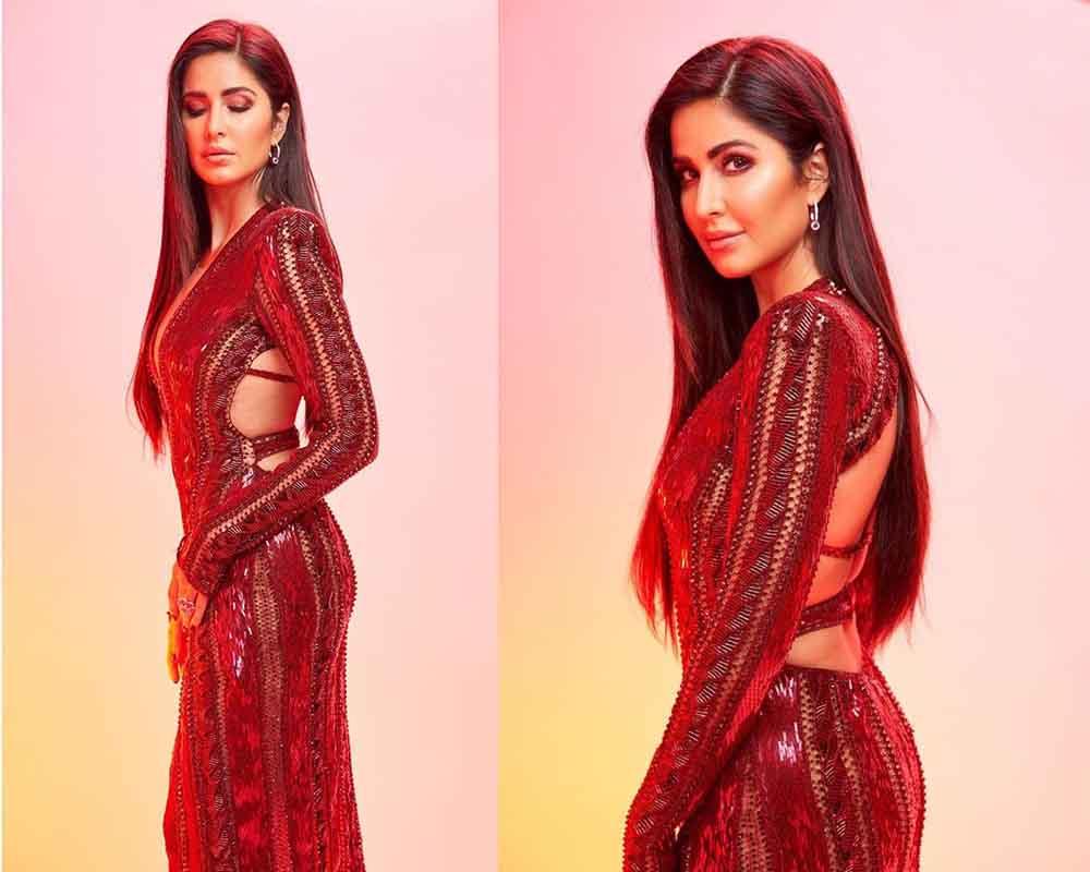 Katrina Kaif a deep red sheer and gown at the IIFA Rocks 2019