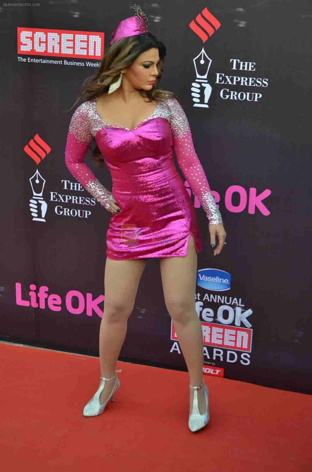 Rakhi Sawant at Life Ok Screen Awards 2015 in a weird outfit