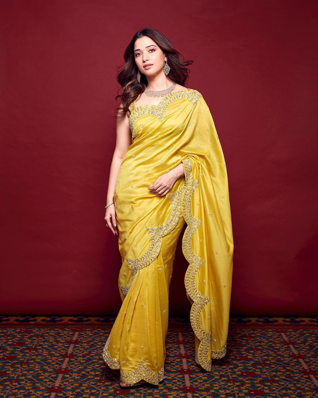 Actress Tamannaah Bhatia latest photo in a yellow saree