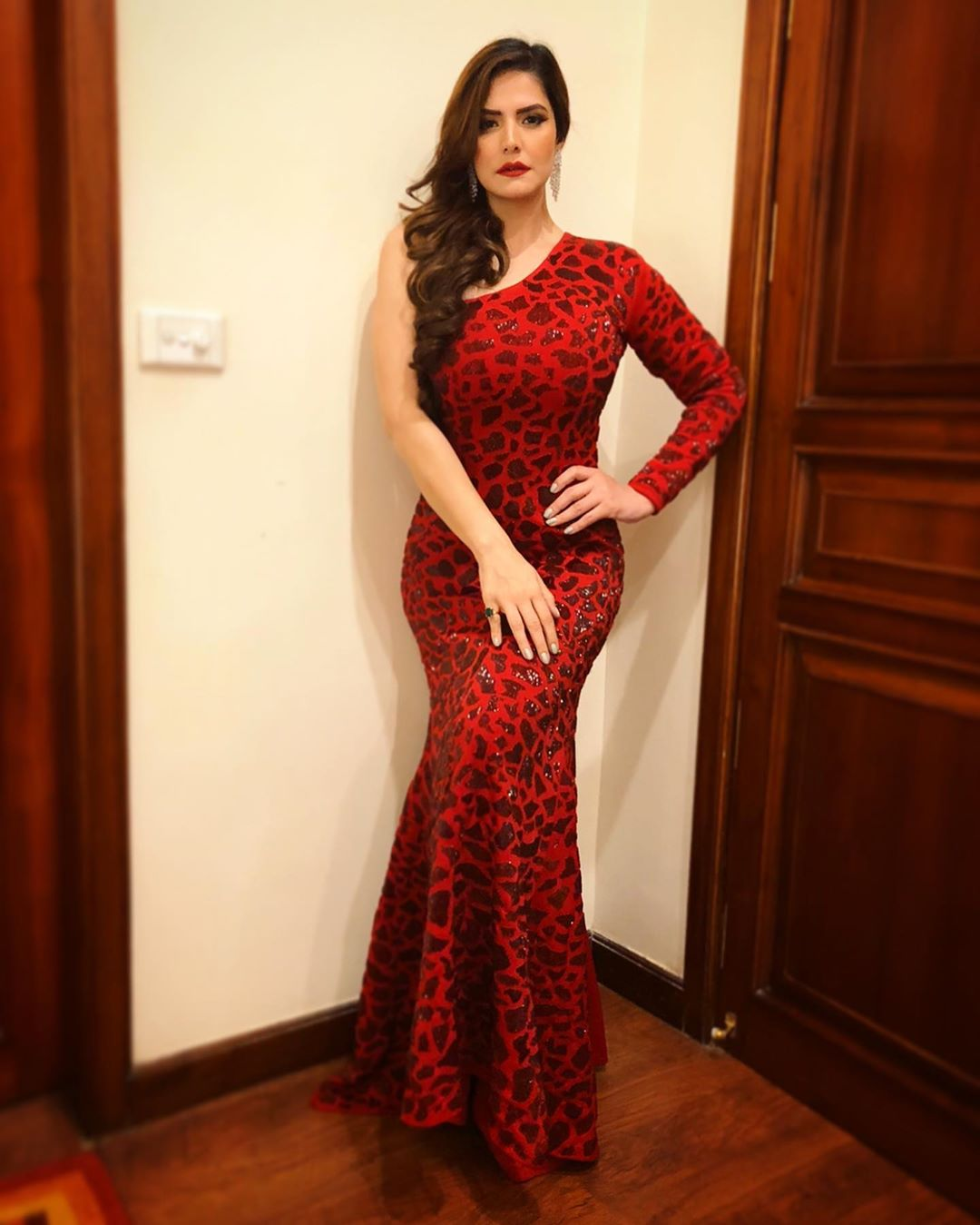 Zareen Khan in Red outfit