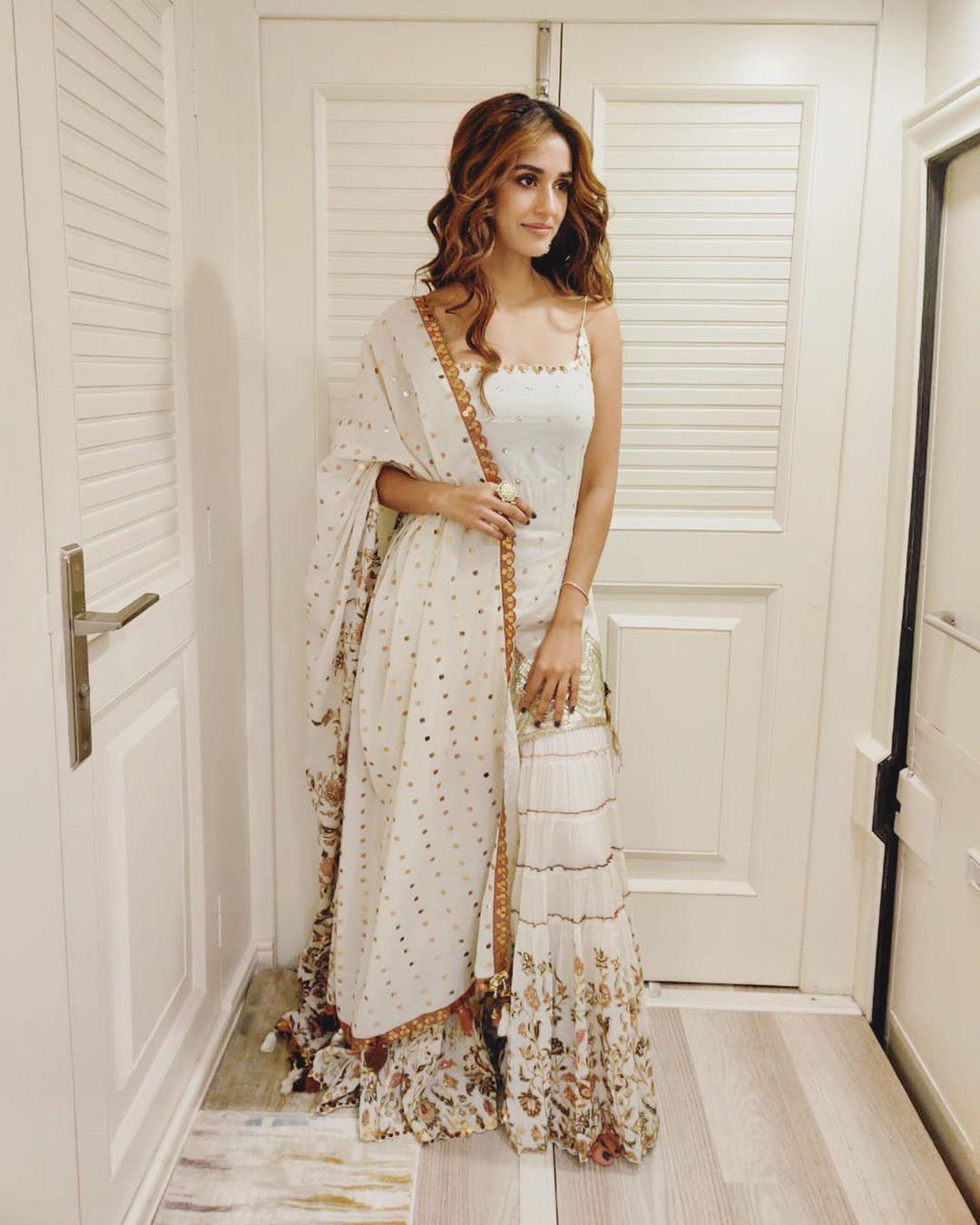 Disha Patani in White Ethnic dress