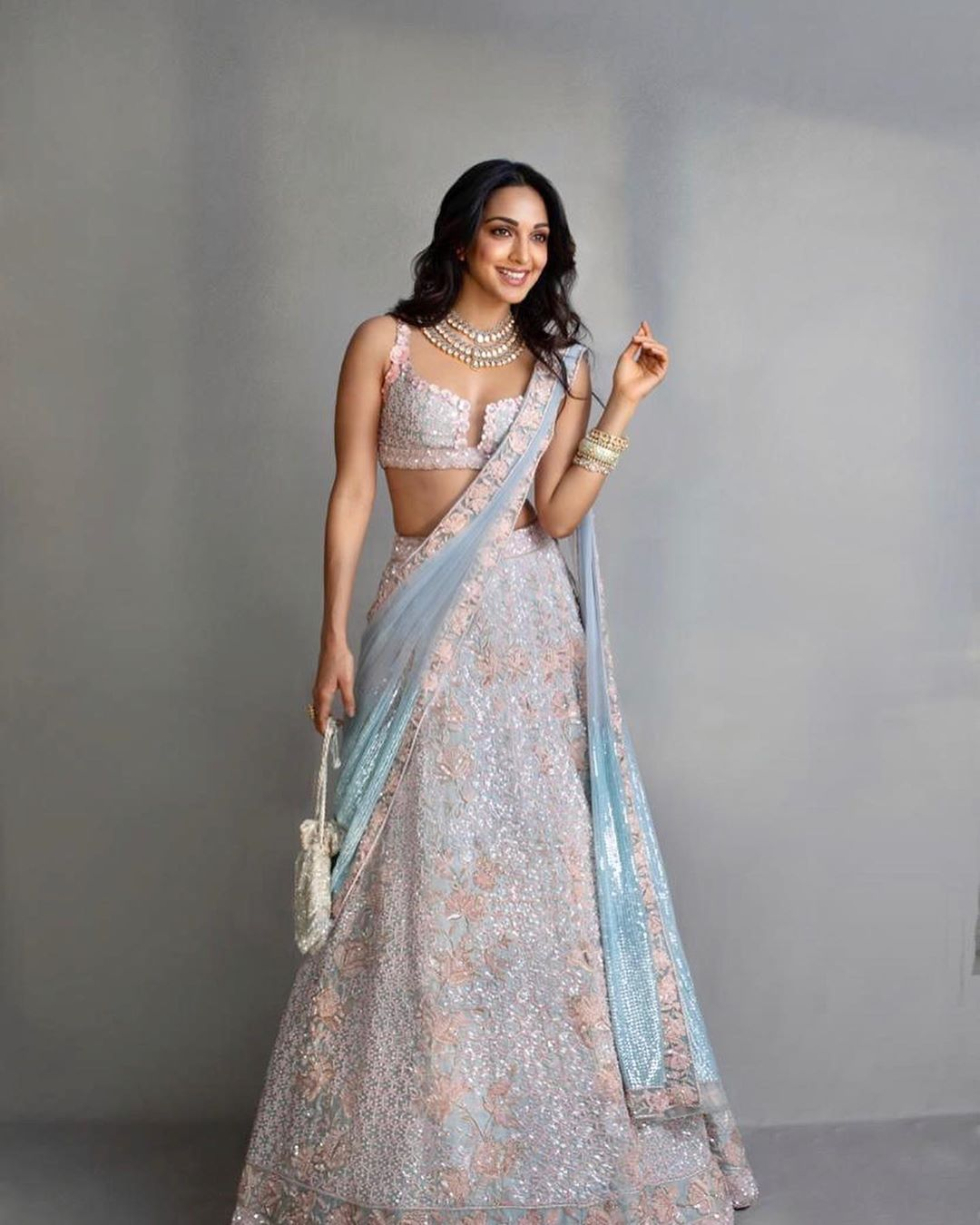 Kiara Advani in Pastle pink Lehenga