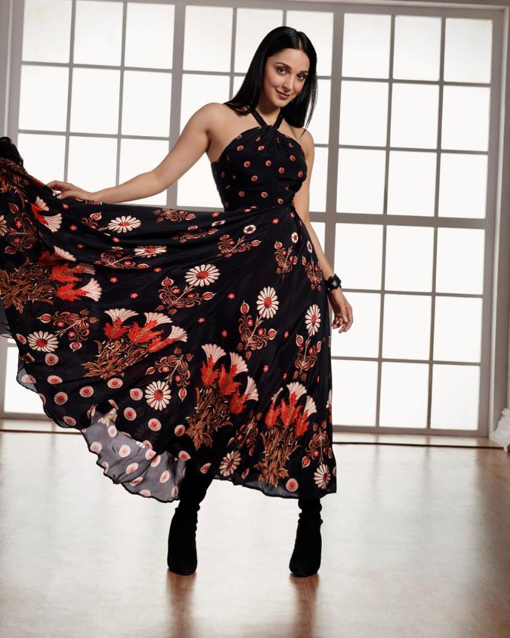 Kiara Advani in Black Floral dress