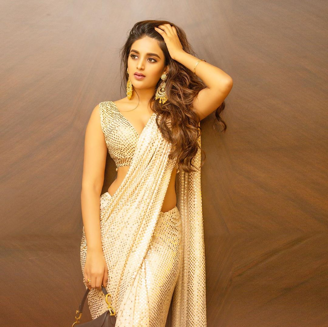 Niddhi Agerwal in Sequin Saree