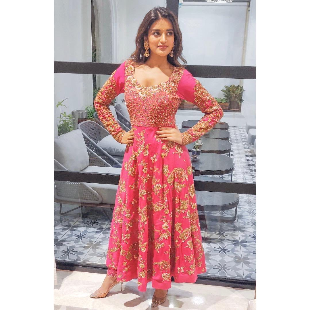 Bollywood actress Niddhi Agerwal in Pink Anarkali