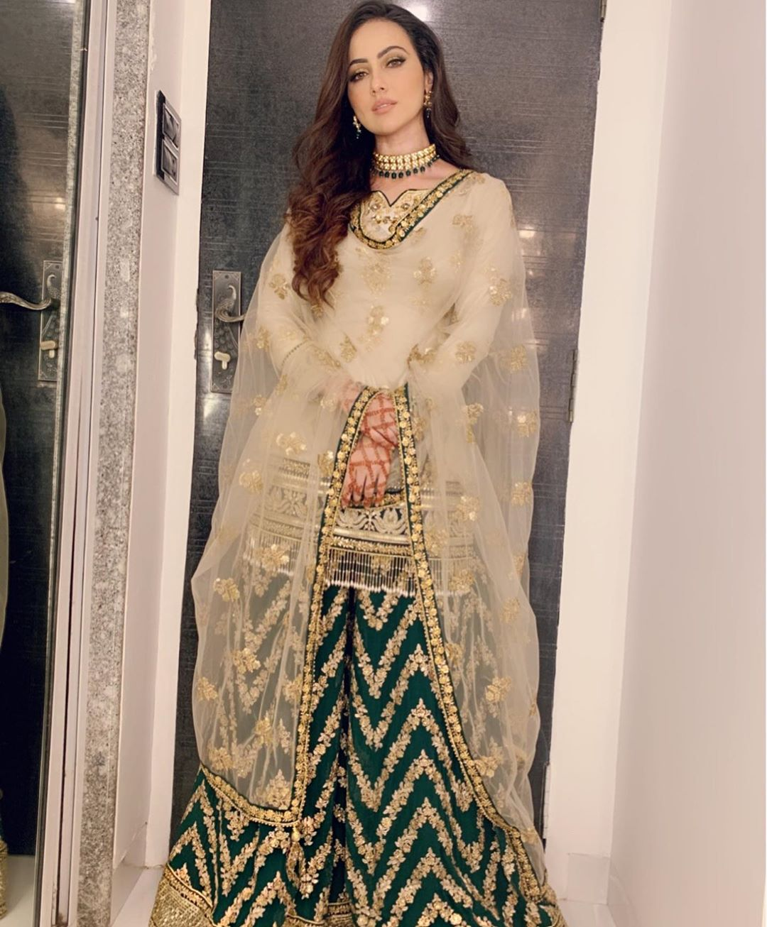 Sana Khan in green Sharara outfit