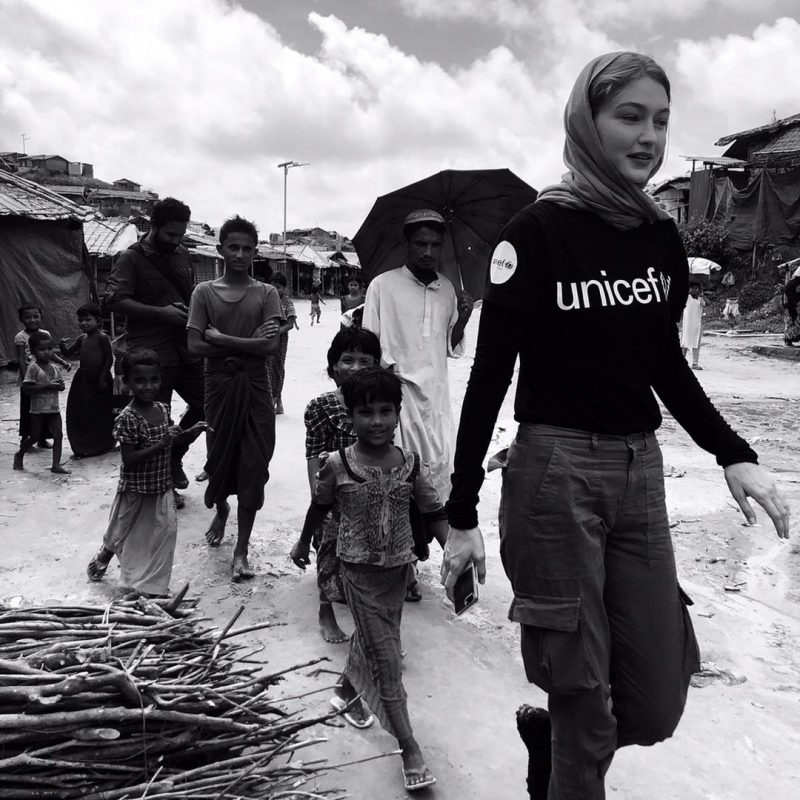 gigi hadid as an unicef ambassador spending her time with poor children.