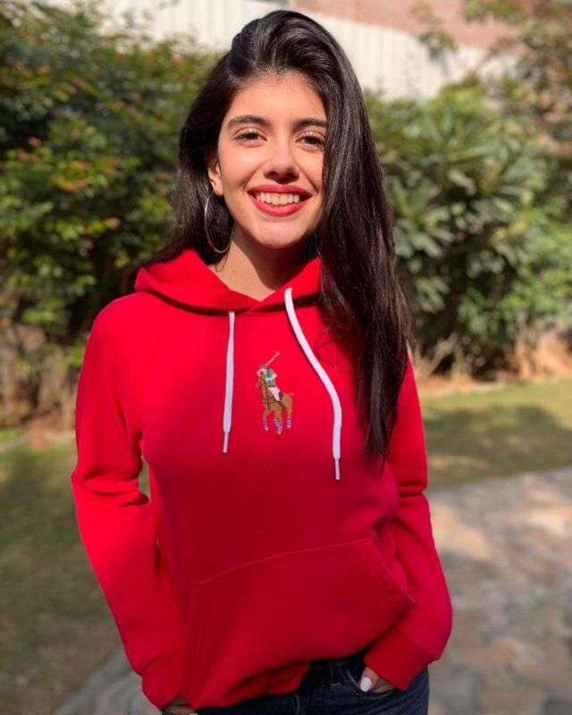 sanjana sanghi in cute red sweatshirt