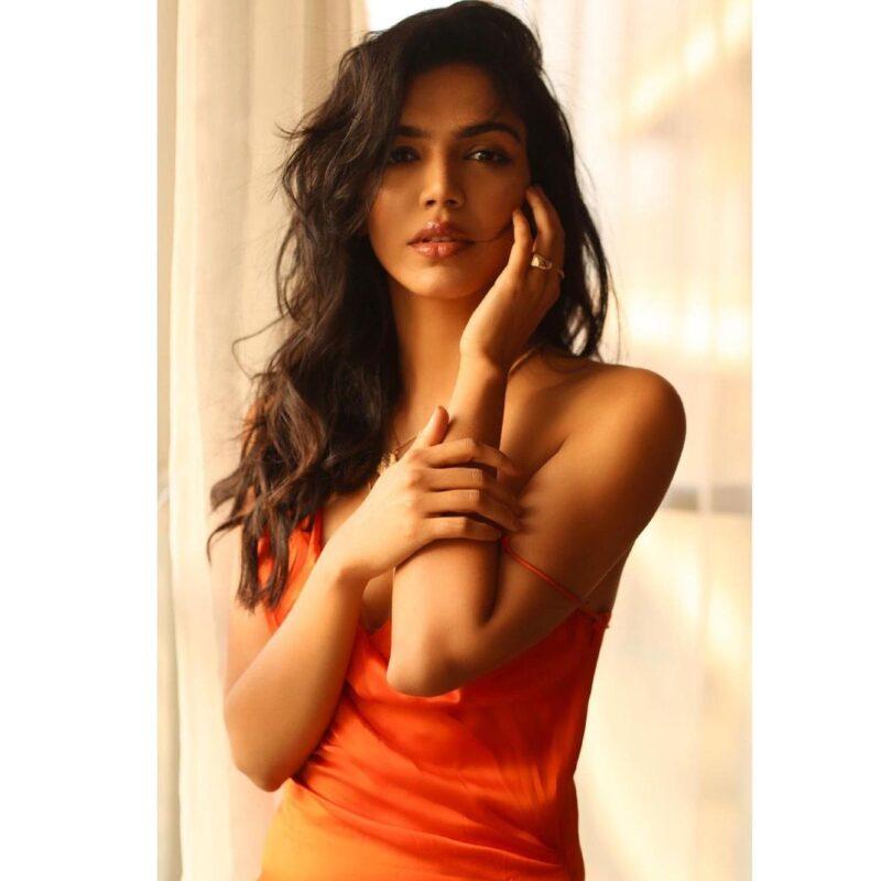shriya pilgaonkar in a very attractive orange dress