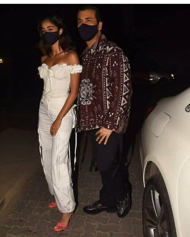 Ananya Pandey And karan johar in deepika padukon birthday party