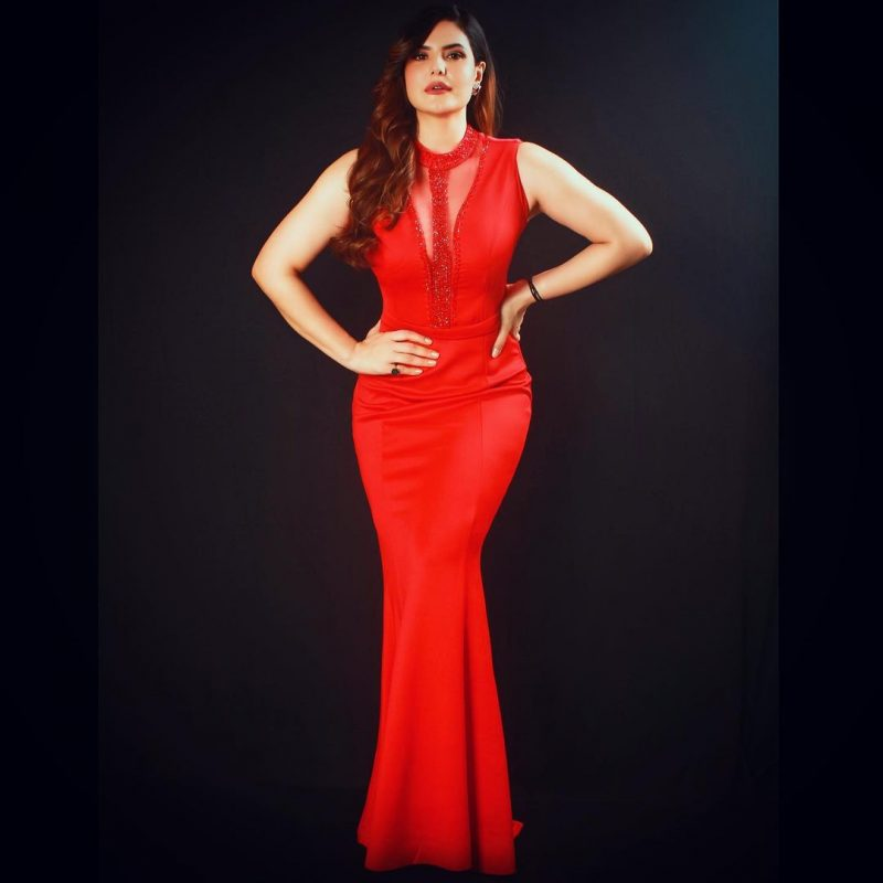 Zareen Khan shows her perfect body in red gown